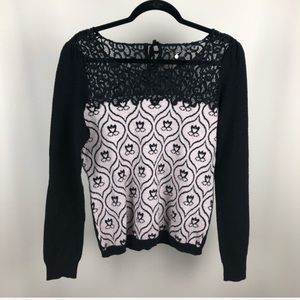 Knitted & Knotted Anthro mod floral sweater lace L